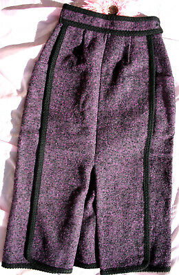 Org. VINTAGE 70er Maxi ROCK 140 girly Trachten Wolle Mohair weinrot top!