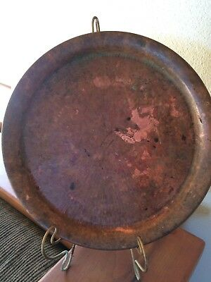 Vintage Solid Copper Platter Tray -Greece hand engraved Beautiful Patina