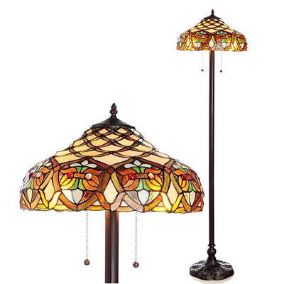 Handcut Stained Glass Tiffany Style Floor Lamp Antique Victorian Theme