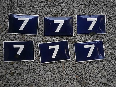 Antique Enamel Sign Door House Number Plate Plaque 7 - Six Pieces