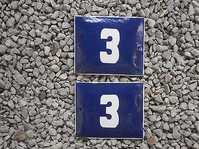 Antique Enamel Sign Door House Number Plate Plaque 3 Two Pieces