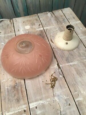 Antique glass shade semi flush Art Deco light fixture ceiling chandelier Pink