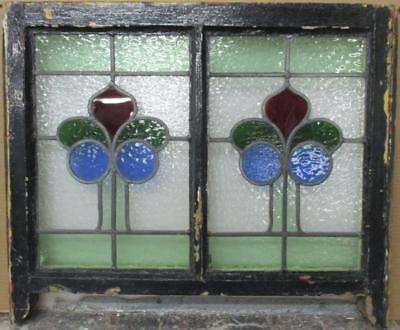 "VICTORIAN ENGLISH LEADED STAINED GLASS  SASH WINDOW Pretty Floral 25"" x 18.75"""