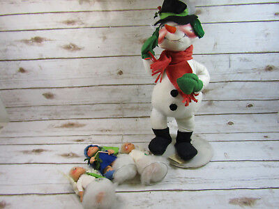 Lot Of 4 Annalee Mobility Dolls Winter Christmas Large Snowman Angels Etc