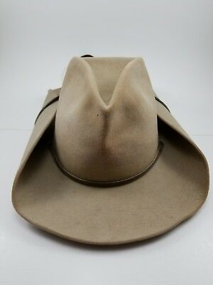 Genuine The Billy Kidd Stetson Cowboy Hat 7 1/2 Leather Rope Tan