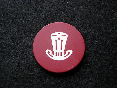 Red Antique Poker Chip - Top Hat  - Clay Vintage Rare Old Gambling Game Gift