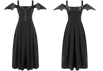 Dark In Love Black Faux Leather Bat Wing Long Gothic Dress
