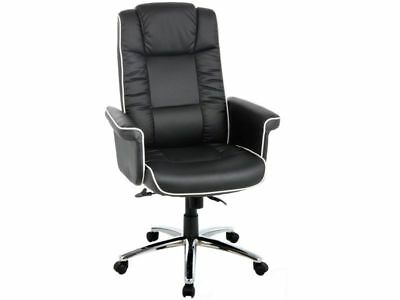 High Back Gas Lift Chelsea Executive Chair Black Office New Faux Leather Bonded