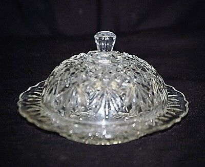 Old Vintage Cut Glass Round Covered Butter Dish Fan & Diamond Pattern Scalloped