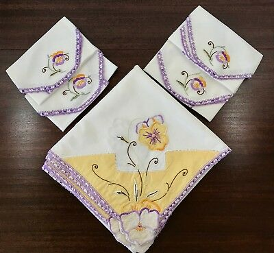 Set Vtg Linen Tablecloth Napkins Embroidery Appliqué YELLOW PURPLE PANSIES 41""