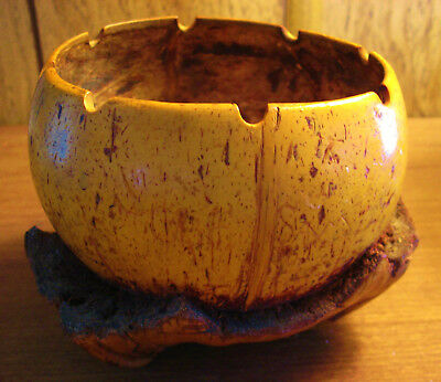 "Vintage carved coconut shell bowl inscribed ""Crew of Manuiwa"" - Hawaii souvenir"