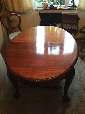 Antique Mahogany Wind Out Dining Table With Chairs