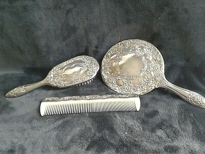 Antique Silver Plate Victorian Style Hair Brush, Comb frame and Mirror Set