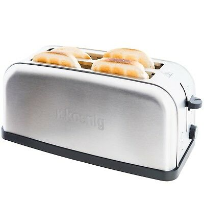 GRILLE PAIN TOASTER Spécial Baguette INOX 4 TRANCHES 1500 Watts H.Koenig