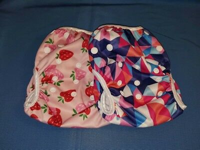 Storeofbaby 2pcs Baby Swim Cloth Diapers Reusable Adjustable 0-36 Months Girls