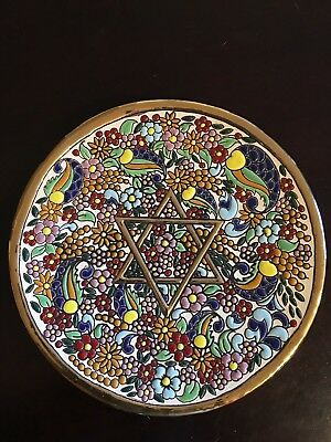 Star of David, Plate hand painted enamel & gold, Artecer (Seville) Gold stand
