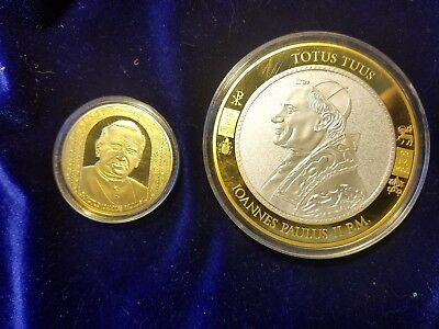 Pope John Paul II Commemorative Coins Set of two American Mint  24K layered