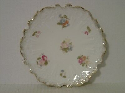 """Vintage Hand Painted Floral Plate With Scalloped Rim  7-5/8"""" Dia,"""