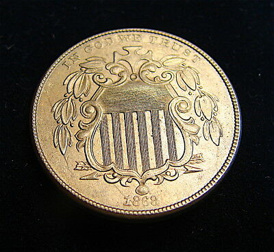 5C Shield Nickel-----1868-----AU or Better Details---Choice Coin