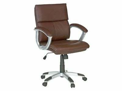 Rochester Mid Back Height Adjustable Office Chair Brown Executive Faux Leather