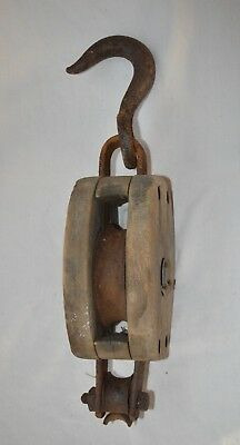 Antique Vintage BLOCK AND TACKLE Single Pulley Wooden w/ Iron Hook Farm Marine