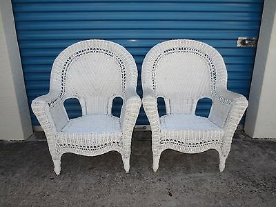 PAIR Wicker Chairs Shabby Chic Cottage Victorian Rattan 2 Coastal Palm Beach