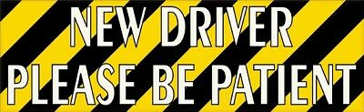 10x3 Striped New Driver Please Be Patient Sticker Car Truck Vehicle Bumper Decal