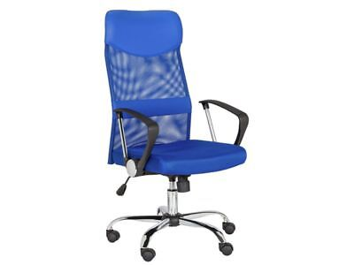 New Mesh & Leather Effect Headrest Adjustable Office Chair Blue Executive Office