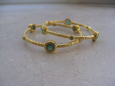 TOSCANA ITALIAN Gold Plate GREEN AGATE Pair of Slip On Bangles (Retail $177+Tax