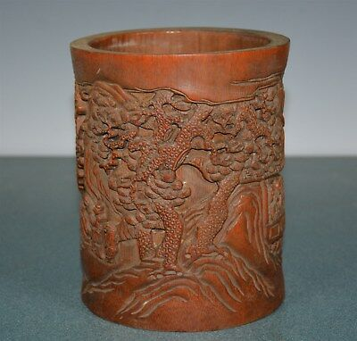 Fine Antique Chinese Well Carved Bamboo Brush Pot Rare Ij4121