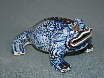 Ultra Rare Antique Chinese Blue And White Porcelain Frog Statue Marked Xuande Nr