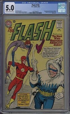 Flash # 134 CGC 5.0 CR-OW 1st App. of Professor Ira West Captain Cold App.