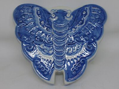 Large beautifully decorated Chinese blue and white porcelain butterfly