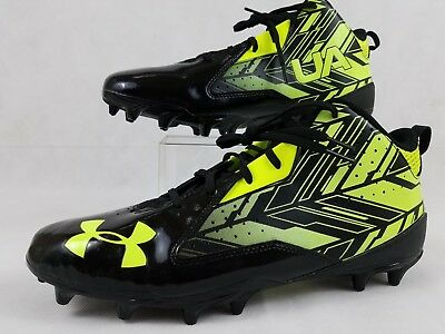 Under Armour Ua Ripshot Mid Mc 1264191-007 Lacrosse Football Cleats Size 12