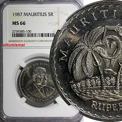 Mauritius 1987 5 Rupees NGC MS66 TOP GRADED BY NGC Seewoosagur Ramgoolam KM# 56