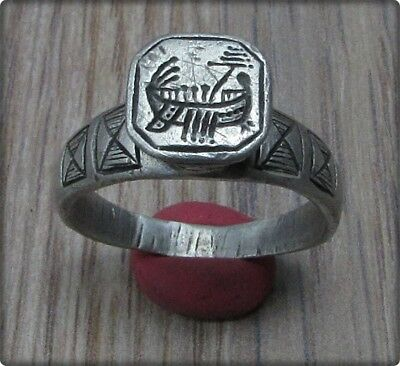 ** GALLEY ** Ancient Silver LEGIONARY Roman Ring **LEGIO X EQUESTRIS **