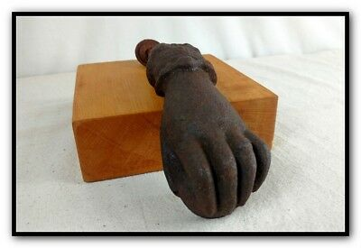 Antique Cast Iron Lady's Hand Holding Ball Door Knocker Clapper W Ring Bracelet