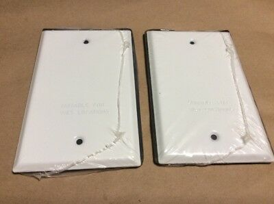 (2) Hubbell Bell 5173-1 Blank Weatherproof Single Gang Device Mount Cover, White