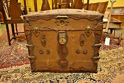 Antique Vintage Wood Trunk with Canvas & Leather Fancy Metal Hinges and Straps