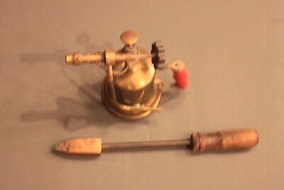 Vintage Antique Turner Brass Blow Torch with Copper Soldering Iron