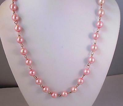 "Pretty Vtg Pink Glass Faux Pearls Gold Chain Necklace 22"" Long  Designer Tula"