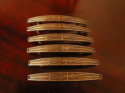 Cool Lot of 6 Vtg Antique Atomic Mid Century Heavy Brass Drawer Pull Handles