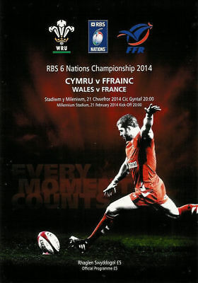 WALES v FRANCE 2014 RUGBY PROGRAMME, 21 Feb, Cardiff, Six Nations