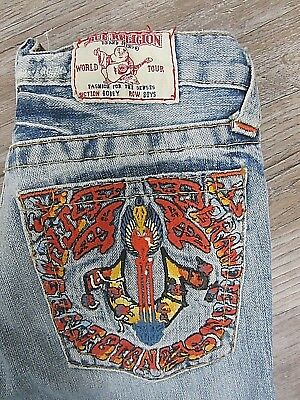 AUTHENTIC True Religion  Bobby Boys Jeans Light Wash Embroidered Pocket 12 x 26