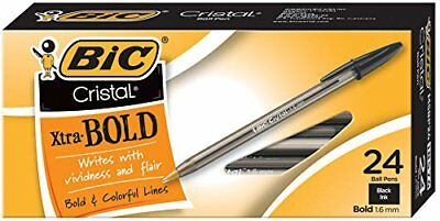 BIC Cristal Xtra Bold Ball Pen, Bold Point 1.6mm, Black, 24-Count