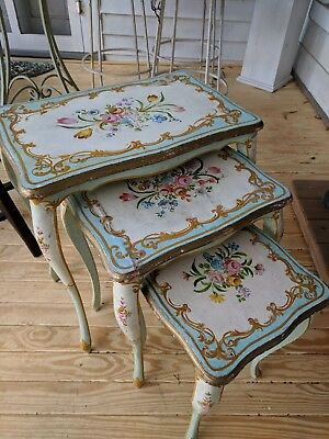 Antique Italian tole painted nesting tables robin's egg blue roses