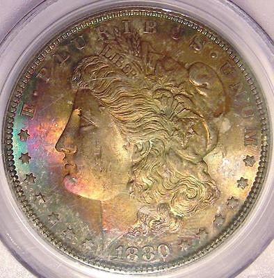 1880 S Morgan Silver Dollar PCGS MS-64 CAC Rainbow Toned Obverse