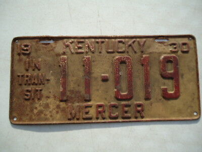 "1930 Kentucky ""Intransit"" license plate"