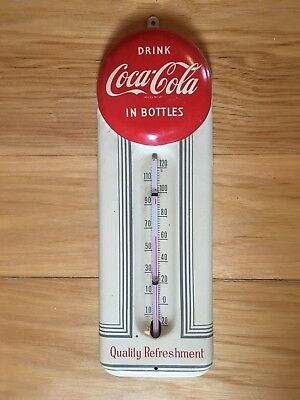 1950s Vintage COCA COLA EMBOSSED BUTTON Tin Therm...