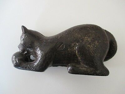 Antique Cast Iron Bank - Cat With Toy Ball